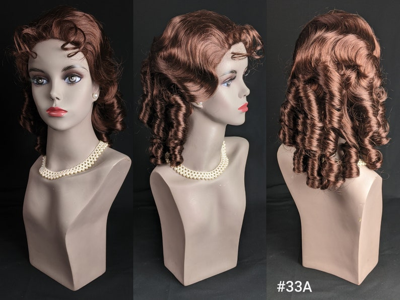 Victorian Wigs, Hair Pieces  | Victorian Hair Jewelry Vintage Synthetic Fiber [Teijin Teviron Kanekalon] Wispy Bangs/No Bangs Ringlet Curls Shoulder-Length Wavy/Curly Style Wig $24.00 AT vintagedancer.com