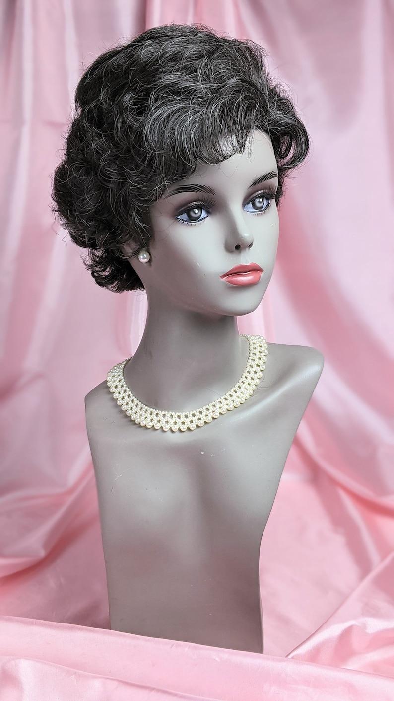 50s Hair Bandanna, Headband, Scarf, Flowers | 1950s Wigs Vintage Synthetic Fiber Short Curly Hair Style