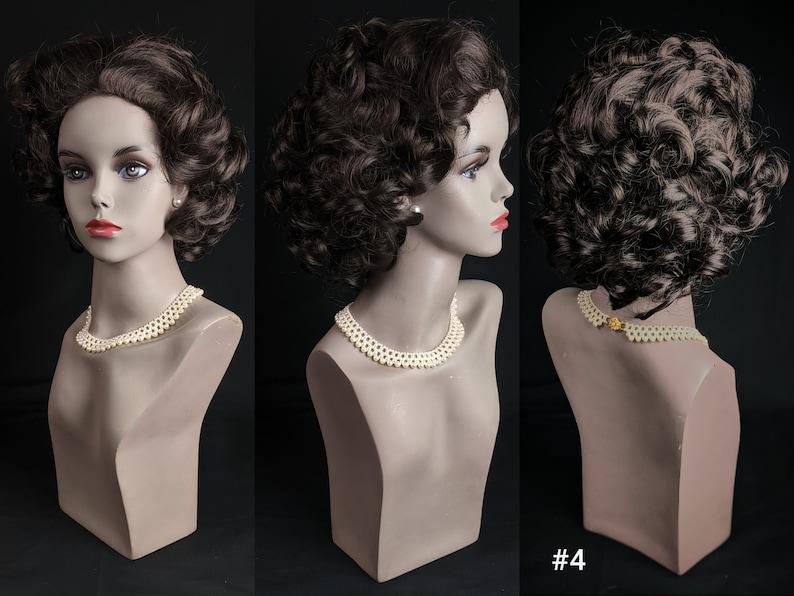50s Hair Bandanna, Headband, Scarf, Flowers | 1950s Wigs Vintage Synthetic Fiber [Toyokalon Kanekalon] No Bangs Curly Short Hair Style Wig $20.00 AT vintagedancer.com