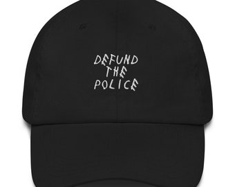 Black Lives Matter Defund The Police Baseball Cap Embroidered Cotton Adjustable Dad Hat