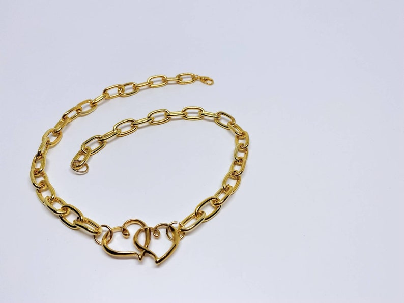 Valentine/'s Choker Chunky Golden Chain Choker with Hearts Charm Halsreif mit Herzen