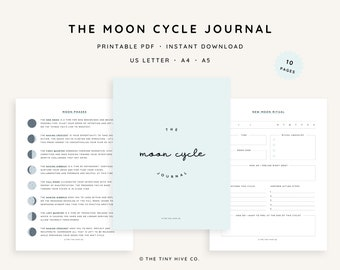 Moon Phase Journal Printable   Lunar Cycle Planner Pages   Digital PDF Download   US Letter, A4, A5