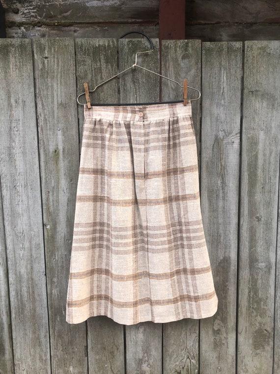 Vintage Plaid A-Line Skirt - image 2
