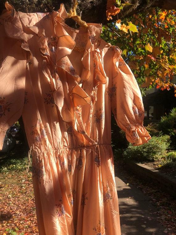 Peach Vintage Floral Summer Dress - image 2