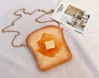 French Toast Shoulder Bag Orange Small Realistic Food Design Quirky Funny Original Designer Crossbody mini Purse Handbag