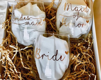 Custom Bridal Party Wine Glass DECAL: Bride/Maid of Honor/Matron of Honor/Bridesmaid/Wedding/Stemless/Gifts/Bridesmaid Proposal/Personalized