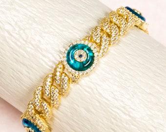 miami cuban link chain bracelet with evil eyegold curb link chain bracelet with greek eye