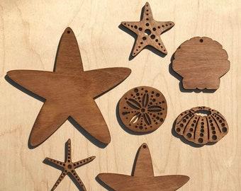 Sea Creatures  |  Hanging Ornaments  |  UV reactive  |  Lasercut Painted Wooden Figures  |  Blacklight  |  Art  |  Design  |  Décor