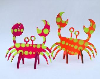 Crab Duo  |  Hanging Ornaments  |  UV reactive  |  Lasercut Painted Wooden Figures  |  Blacklight  |  Art  |  Design  |  Décor