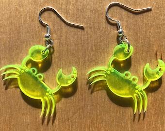 Crab Earrings | Fluorescent Colored Acrylic | UV Reactive | Neon Pink, Neon Orange, Neon Yellow, Neon Green | Lasercut Jewelry | Blacklight