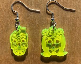 Non-matching Sugar Skull Earrings | UV Reactive |  Fluorescent Acrylic | Neon Pink, Orange, Yellow or Green | Lasercut Jewelry | Blacklight