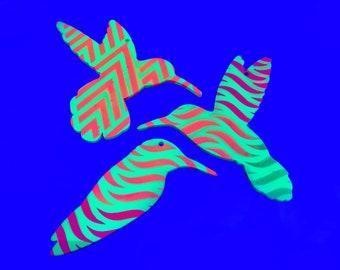 Hummingbird Trio  |  Hanging Ornaments  |  UV reactive  |  Lasercut Painted Wooden Figures  |  Blacklight  |  Art  |  Design  |  Décor