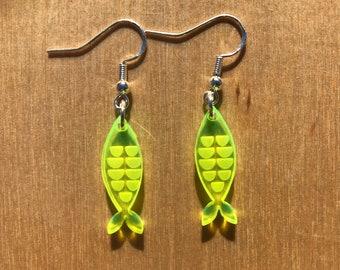 Fish Earrings | Fluorescent Colored Acrylic | UV Reactive | Neon Pink, Neon Orange, Neon Yellow, Neon Green | Lasercut Jewelry | Blacklight