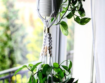 2 tier macrame plant hanger, Double Pot holder, Macrame for 2 pot, wooden beads, how to Decorate home with plants