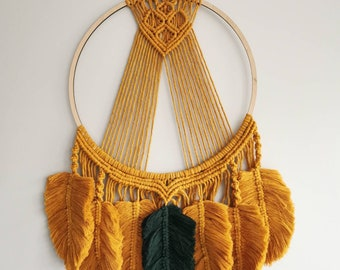 One of the kind large mustard 40 cm diameter wall hanging macrame decor dreamcatcher with 7 leaves gifts for her boho style decor home