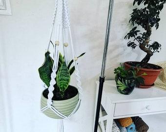 Plant Hanger Macrame, macrame art decor, pot holder for houseplant, 4 legs boho chic, home wall decor, hanging flowerpot holder