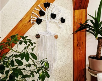 Tree of life large diameter 40cm and long macrame wall hanging decoration with leaves and wooden beads personalised wall home decor bohemian
