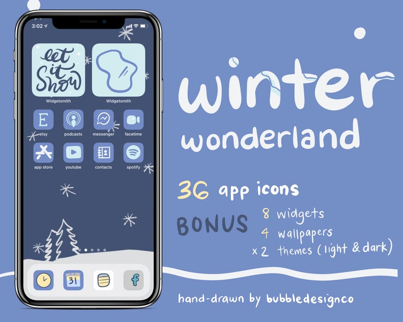 Cute Winter iOS 14 Icons  iPhone iOS 14 App Icons  Handdrawn image 0