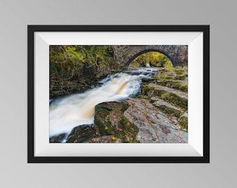 Cauldron Falls / West Burton Falls Under The Bridge Waterfall Print, Yorkshire Landscape Photography Wall Art
