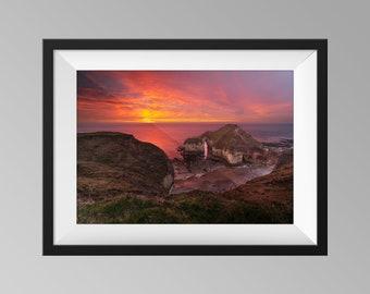 The Drinking Dinosaur Sunrise at Flamborough Head, UK - Yorkshire Landscape Photography, Fine Art, Sunset Wall Art