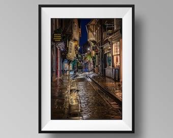 Reflections at The Shambles, UK - Yorkshire Cityscape Photography, Architecture Print, Historic Roman Street Wall Art
