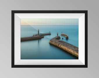 Calm Waters at Whitby Print, Yorkshire Landscape Photography Wall Art, Fine Art