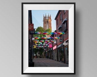 Umbrella Street, Coppergate, UK - Yorkshire Cityscape Photography, Architecture Print, York Pride Display