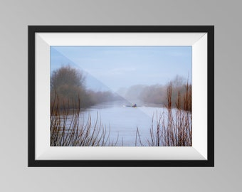 Rowing Boat on the River Ouse on a Foggy Morning - Yorkshire Landscape Photography, Fine Art, Wall Art