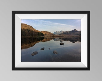 Early Morning Reflections at Blea Tarn, Lake District - Cumbria Landscape Photography, Fine Art, Mountain Wall Art - Langdale Pikes