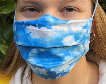 Handmade clouds mask (Iris Luckhaus hybrid cloth mask)