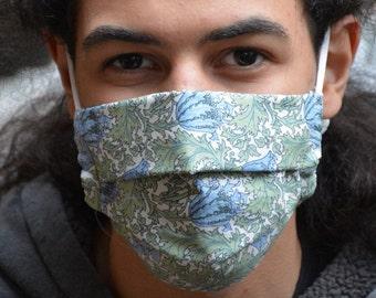 William Morris Anemone mask (Iris Luckhaus hybrid cloth mask)