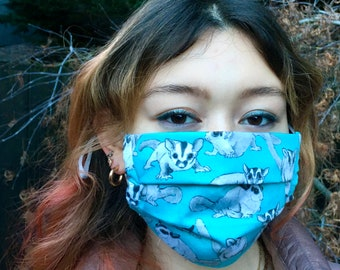 Handmade sugar glider mask (Iris Luckhaus hybrid cloth mask)