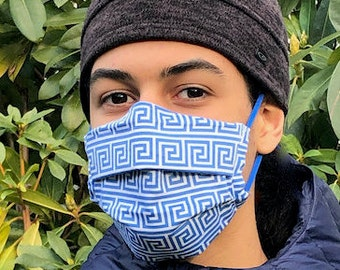Meandros (Greek key) blue and white mask (Iris Luckhaus hybrid cloth design)