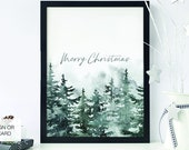 Holiday Christmas Snowy Forest Printable Sign, Merry Christmas, Winter, Trees, Greeting Card, Christmas party decor, Holiday Signage