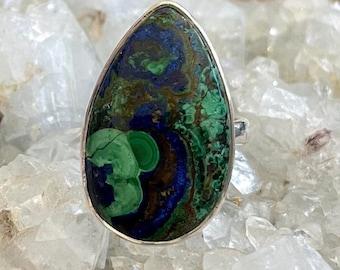 Azurite Malachite Sterling Silver Ring, Adjustable 6 7 8 9 10,  AzurMalachite, Blue Green Gemstone, FREE SHIPPING