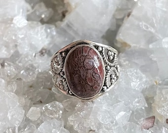Fossilized Dino Bone Sterling Silver Ring, Size 8, Red Gray Dinosaur Bone, FREE SHIPPING