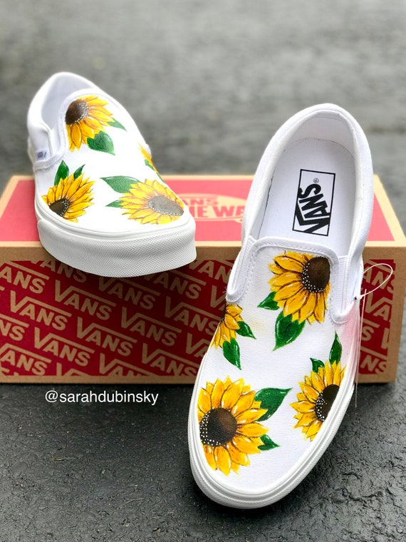 Hand Painted Custom Sunflower Vans | Etsy
