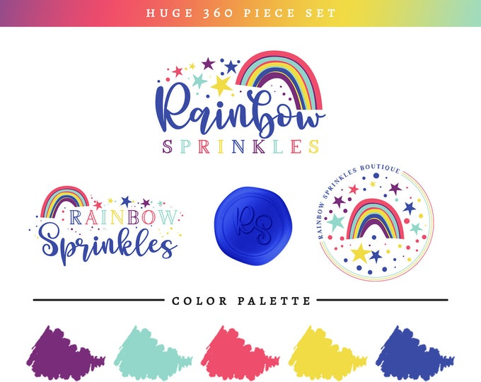 Cute Rainbow Branding Package | Bold Bright Rainbows & Stars Logo Set | Fun Kids Shop Brand Makeover | Premade Logo Baby Boutique Branding