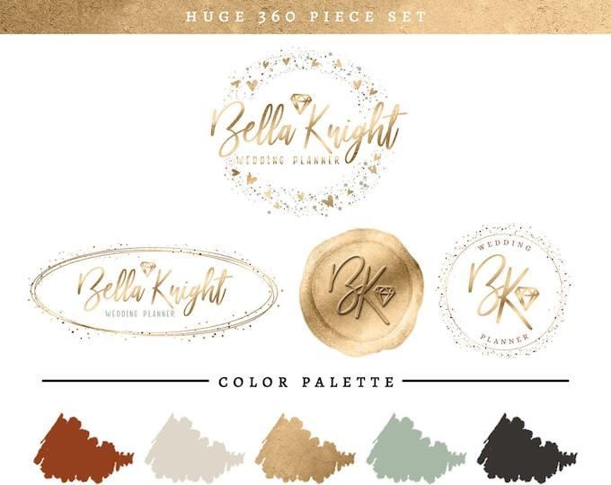 Chic Gold Diamond Gem Branding Package | Wedding or Jewelry Shop Logo Set | Modern Trendy Brand Makeover | Feminine Premade Branding Kit