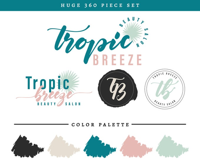 Tropic Breeze Branding Package | Tropical Leaf Beach Themed Logo Set | Teal Mint Pink & Gray Colors Brand Makeover | Premade Branding Kit