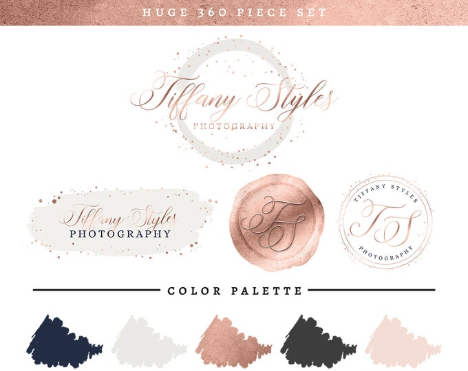 Rose Gold Blush Pink & Navy Blue Branding Package | Brush Stroke Logo Set | Photography Studio Brand Makeover | Modern Premade Branding Kit