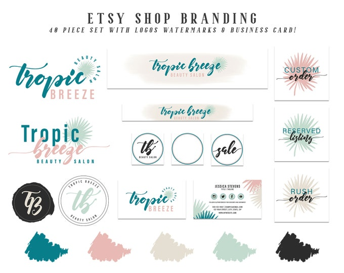 Tropic Breeze Etsy Shop Branding Set | Tropical Color Palette Logo Package | Teal Pink & Gray Etsy Cover Photo Banner Shop and Sale Icons