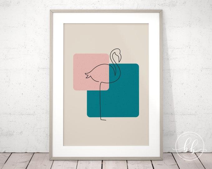 Abstract Flamingo Art Print | Tropical One Line Digital Wall Art | Mid Century Modern Beach House Decor | Teal Blue Beige and Pink Flamingo
