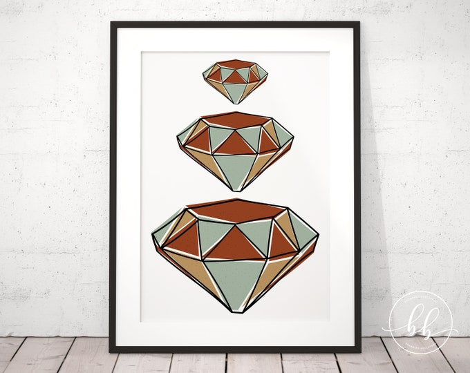 Abstract Diamond Gems Art Print | Gemstone Digital Wall Art | For Home or Office | Mid Century Modern Art Print | Terracotta & Gold Colors