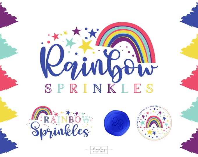 Rainbow Logo Branding Kit | Pink Blue & Purple Watermarks | Bright Rainbow and Stars Logo Design | Premade Baby or Kid's Boutique Logo