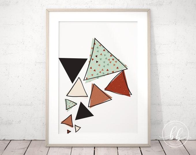 Fun Abstract Triangles Art Print | Geometric Digital Wall Art | Terracotta Rust Red Burnt Sienna & Green | Gallery Wall Art Poster Print