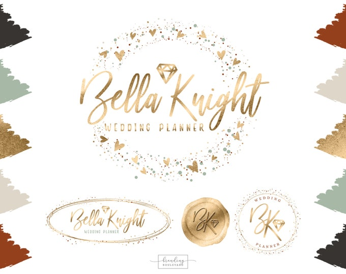 Jewelry or Wedding Shop Logo Branding Kit | Gold Terra Cotta & Beige Watermarks | Diamond Gem Shape Logo Design | Premade Jeweler Logo