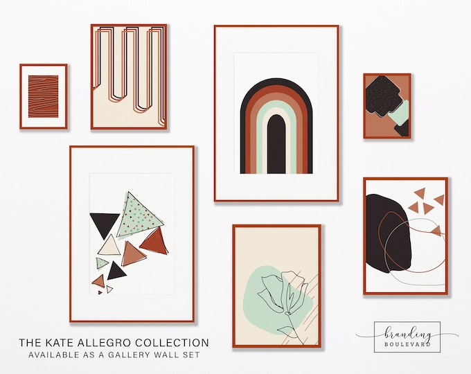 Terracotta Abstract Gallery Wall Art Print Set | Rainbow Floral One Line Drawing Digital Art | Burnt Orange Sienna Mid Century Poster Bundle