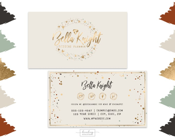 Jewelry or Wedding Shop Business Cards Design |  Gold Diamond Gem Business Cards | Modern Gold Confetti Digital Premade Business Cards