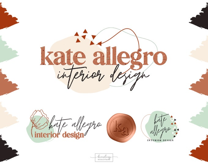 Terrazzo Logo Branding Kit | Terracotta Mint & Beige Watermarks | Triangles and Lines Geometric Logo Design | Premade Abstract Retro Logo